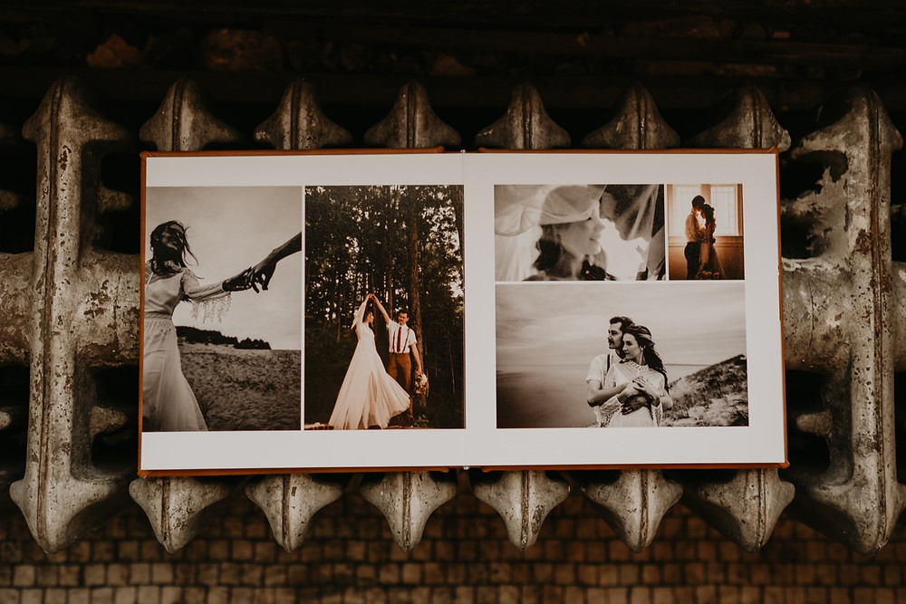 Photo album page with various wedding photos. Photographed by Nicole Leanne Photography.