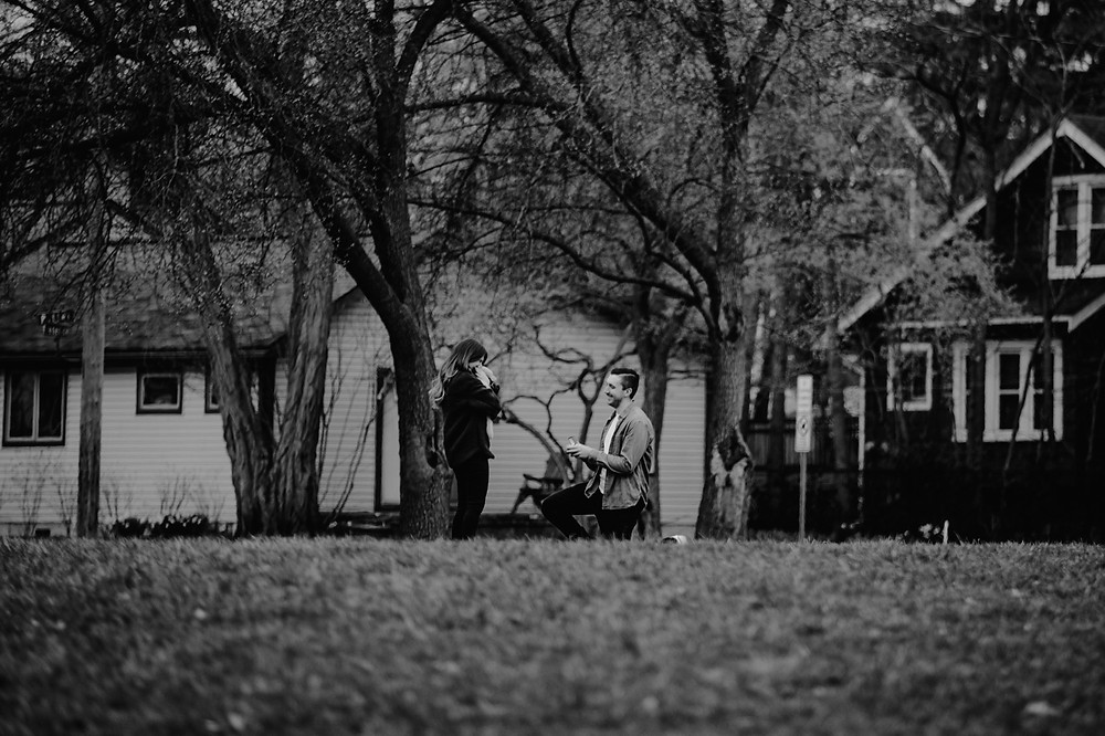 Couple get engaged in Michigan park. Photographed by Nicole Leanne Photography.