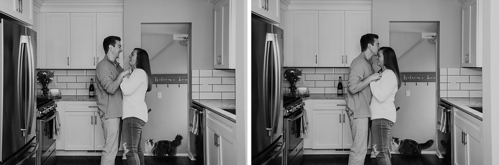 Grosse Pointe home engagement photos of couple in kitchen. Photographed by Nicole Leanne Photography.