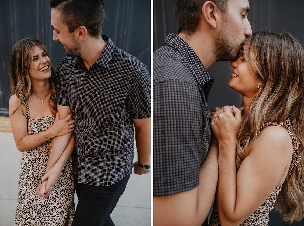 Casual engagement photos in Detroit. Photographed by Nicole Leanne Photography.