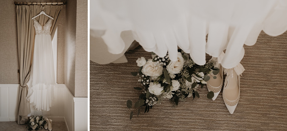 Wedding florals and wedding dress. Photographed by Nicole Leanne Photography.