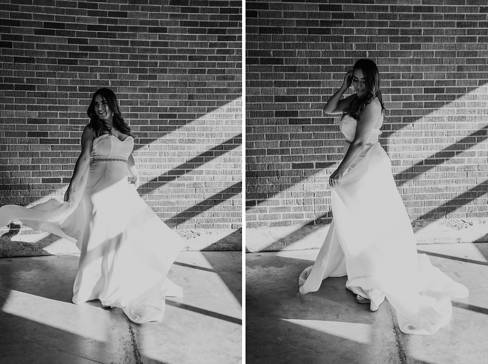 Bride twirling in wedding dress by Love Lives Here. Photographed by Nicole Leanne Photography.