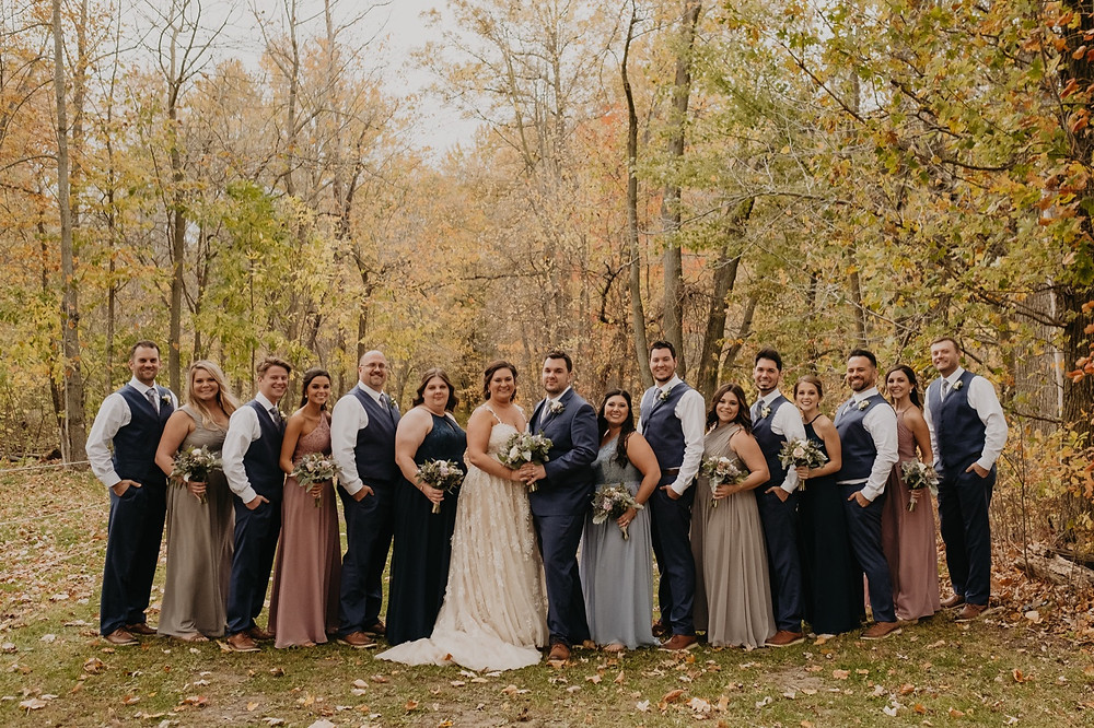 Fall Michigan wedding photos with fall colors