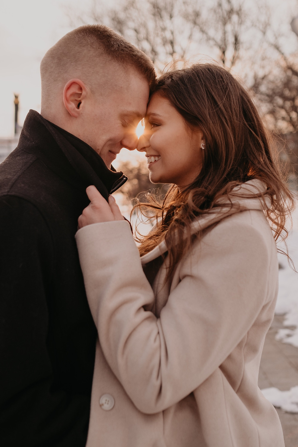 Sunset engagement session in Downtown Detroit. Photographed by Nicole Leanne Photography.