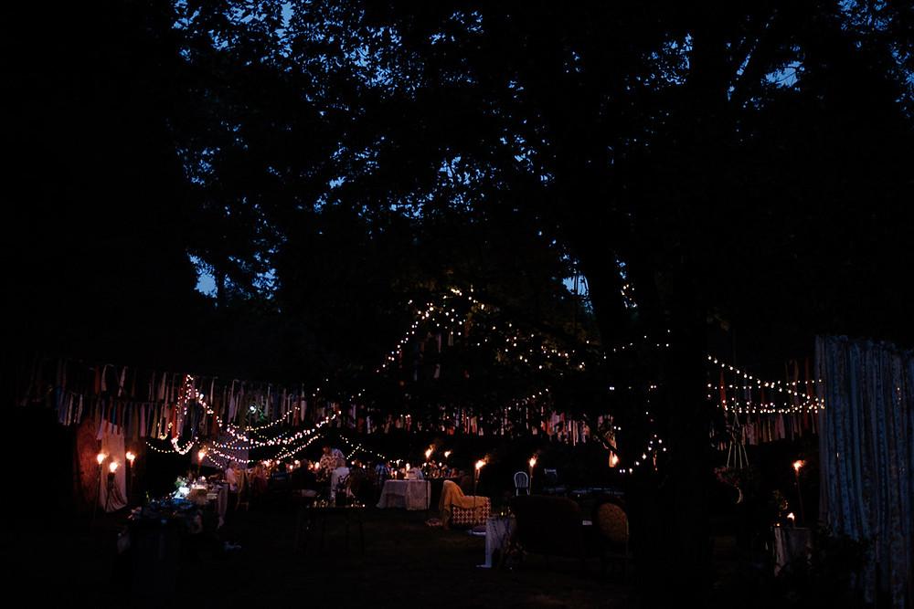 backyard wedding reception at night