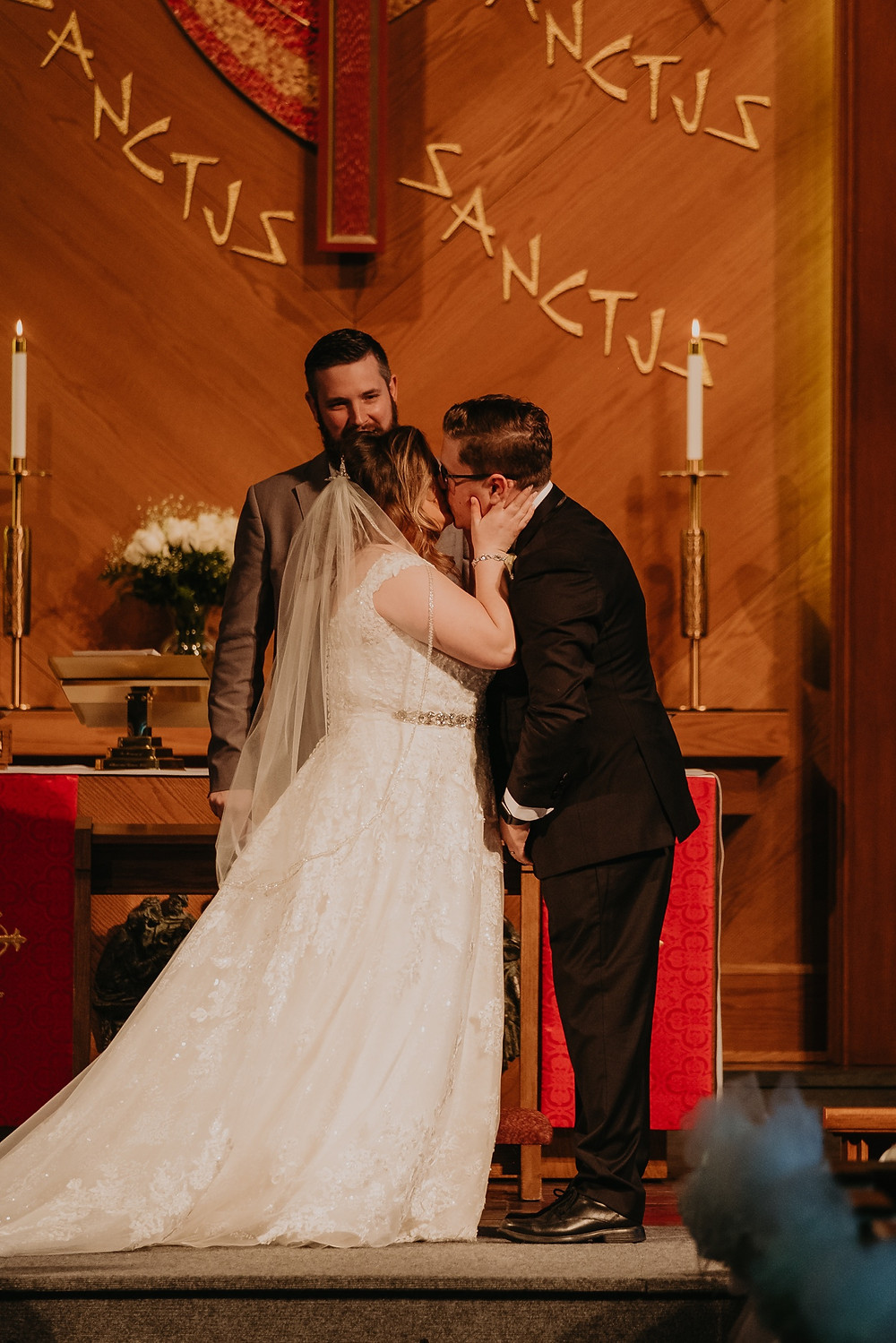 Church wedding ceremony in Metro Detroit. Photographed by Nicole Leanne Photography.