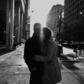Angela + Josh | Financial District + Detroit Riverwalk Engagement | Detroit Engagement Photographer