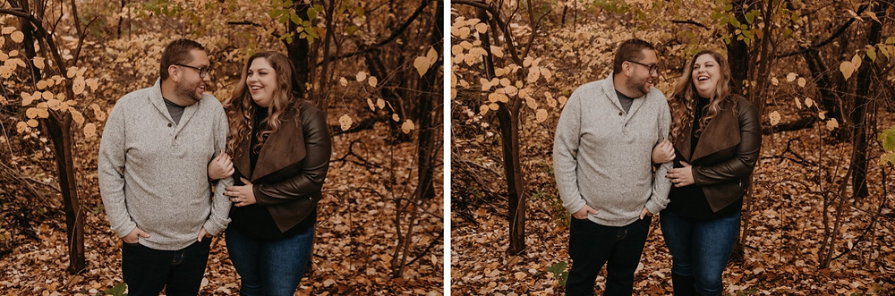 Couple laughing during park engagement session. Photographed by Nicole Leanne Photography.