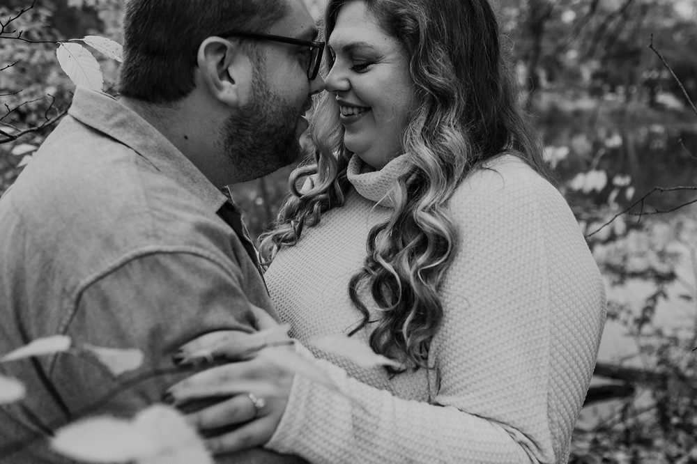 Black and white engagement photos. Photographed by Nicole Leanne Photography.