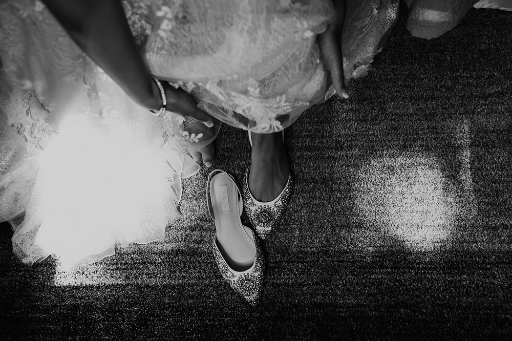 Wedding shoes in black and white. Photographed by Nicole Leanne Photography.
