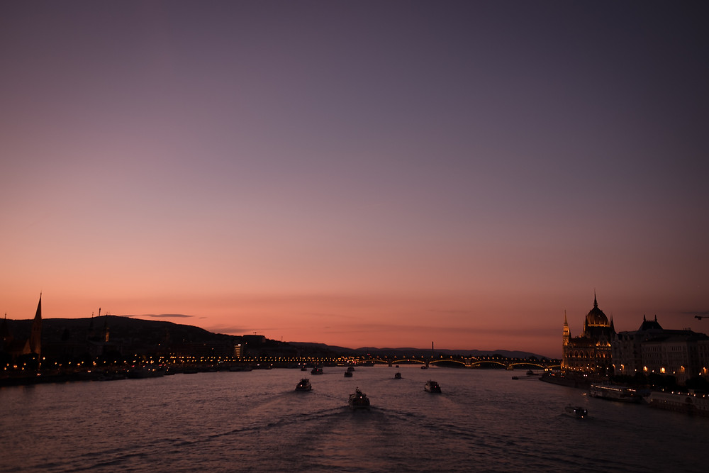 Sunset in Budapest. Photographed by Nicole Leanne Photography.