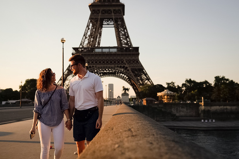 walking along the river, eiffle tower, sunrise