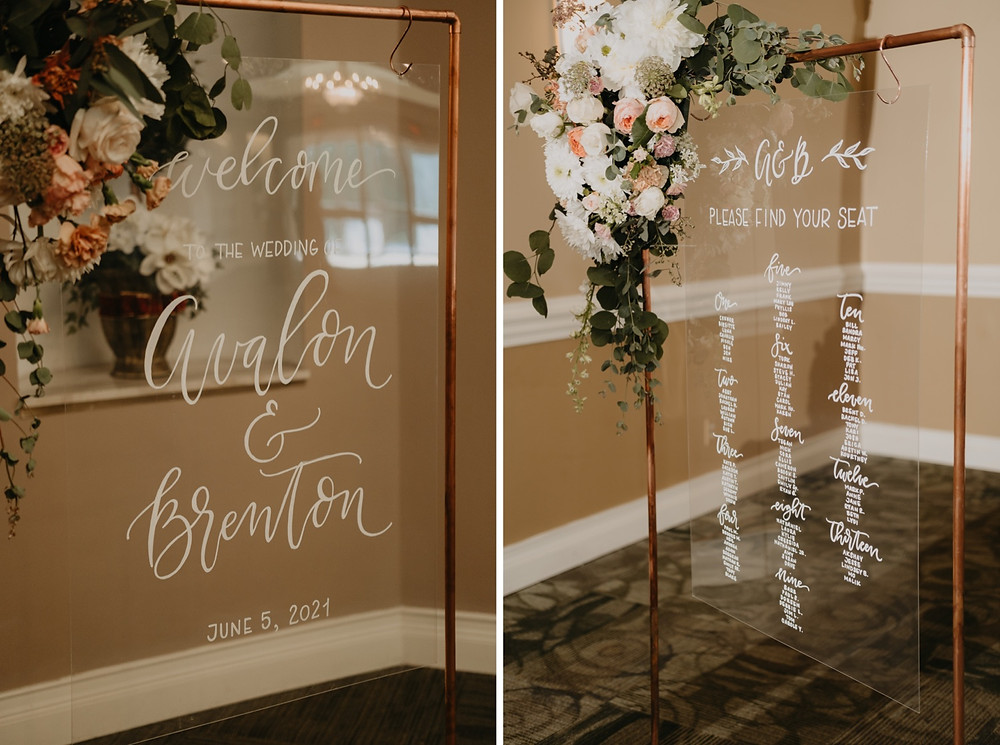 Seating chart wedding details. Photographed by Nicole Leanne Photography.