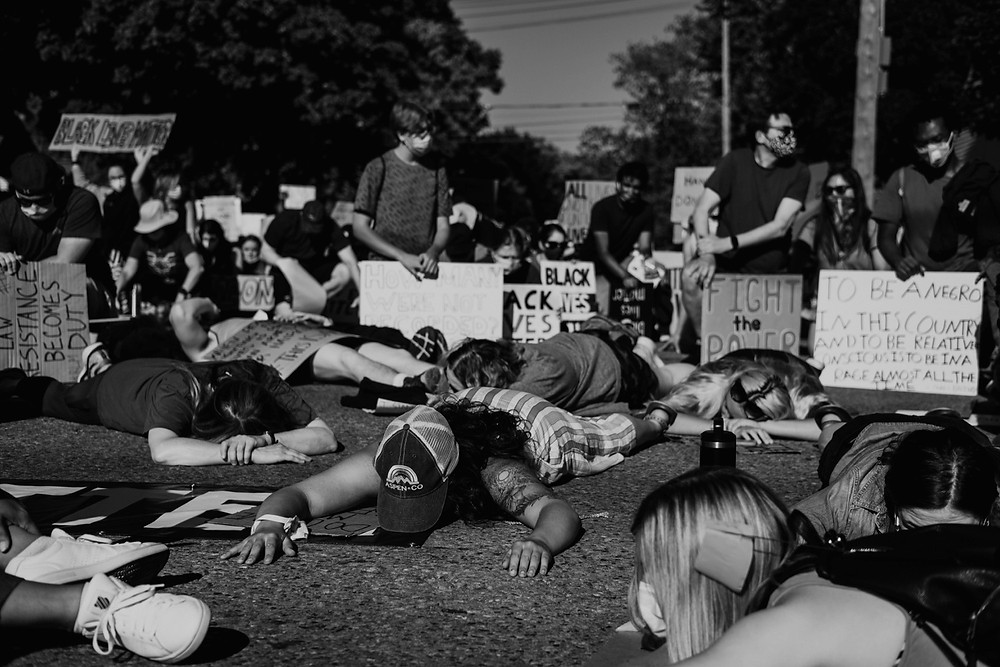 Protesters lay in the street for Black Lives Matter protest
