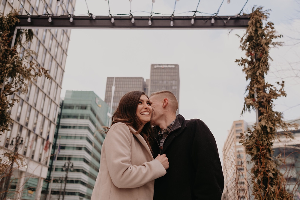 View of Detroit during downtown engagement session. Photographed by Nicole Leanne Photography.