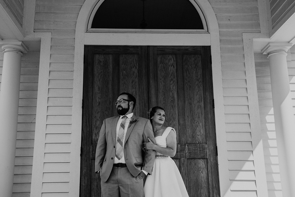 Black and white photos at Meridian Historical Village on wedding day. Photographed by Nicole Leanne Photography.