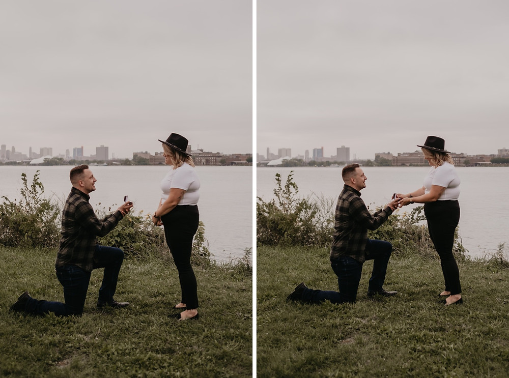 Man proposing to woman in Detroit. Photographed by Nicole Leanne Photography.