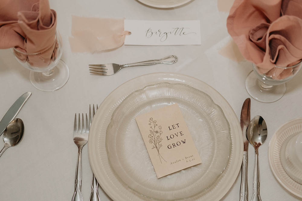 Place setting for Spring wedding. Photographed by Nicole Leanne Photography.