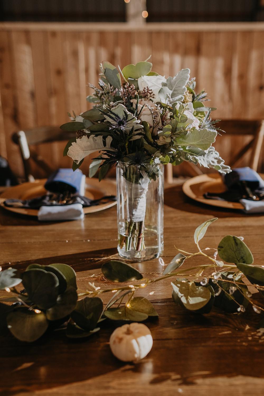 English Garden floral arrangements at Michigan barn wedding