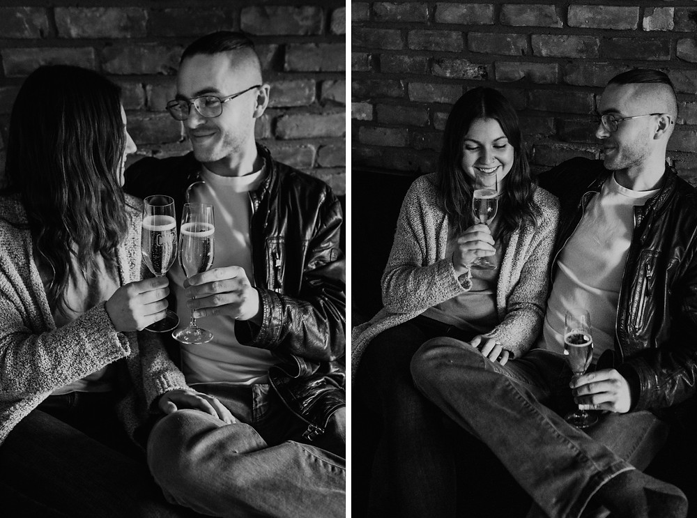 Couple drinking champagne at home together. Photographed by Nicole Leanne Photography.