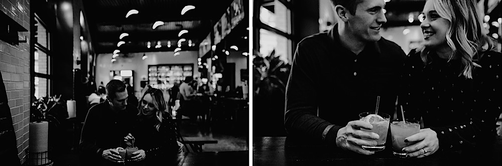 Black and white photos of couples having drinks at The Brakeman in Detroit. Photography by Nicole Leanne Photography