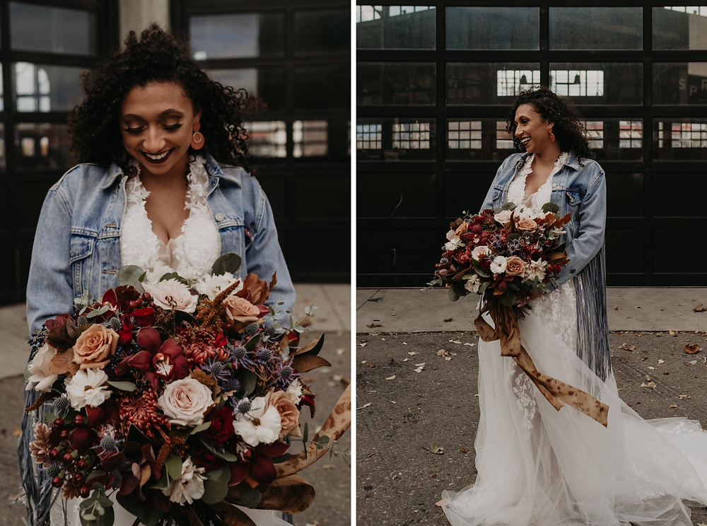 Bride holding bouquet made by Bride and Bloom floral design