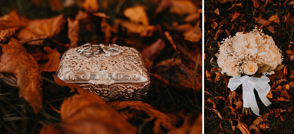 Wedding details at fall wedding in Metro Detroit. Photographed by Nicole Leanne Photography.