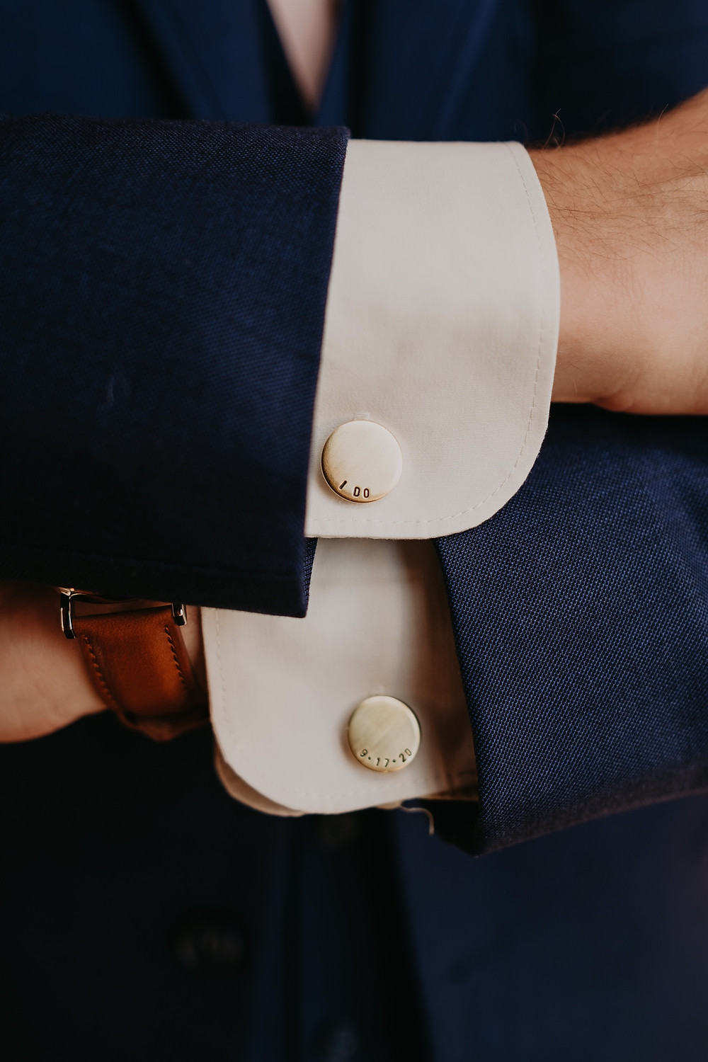 Customized cuff links for groom. Photographed by Nicole Leanne Photography.