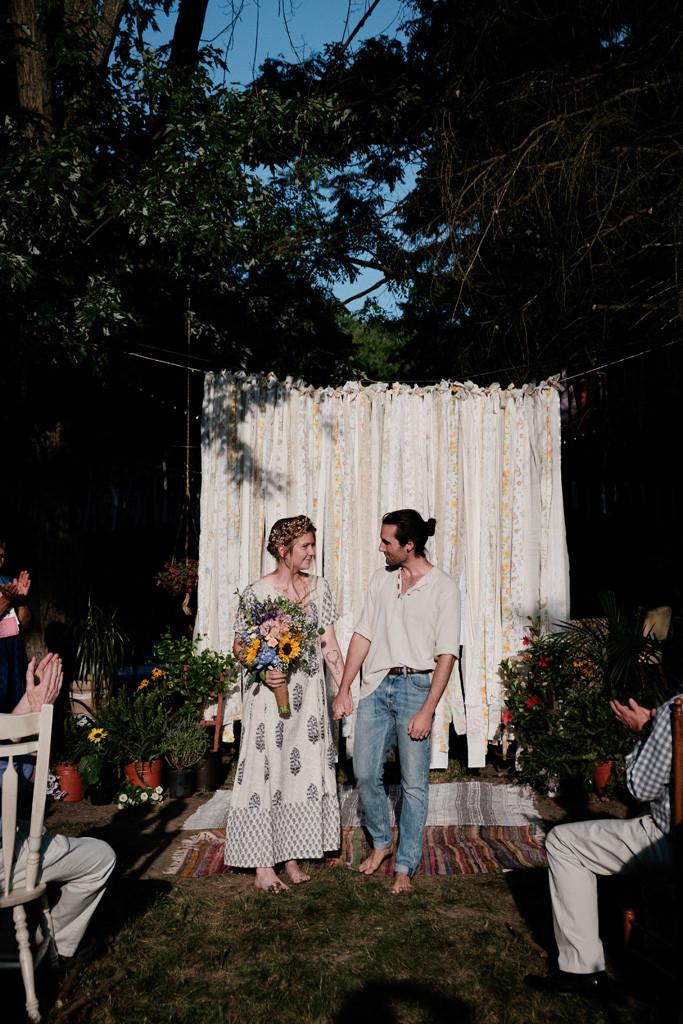 married, outdoor wedding, flowers