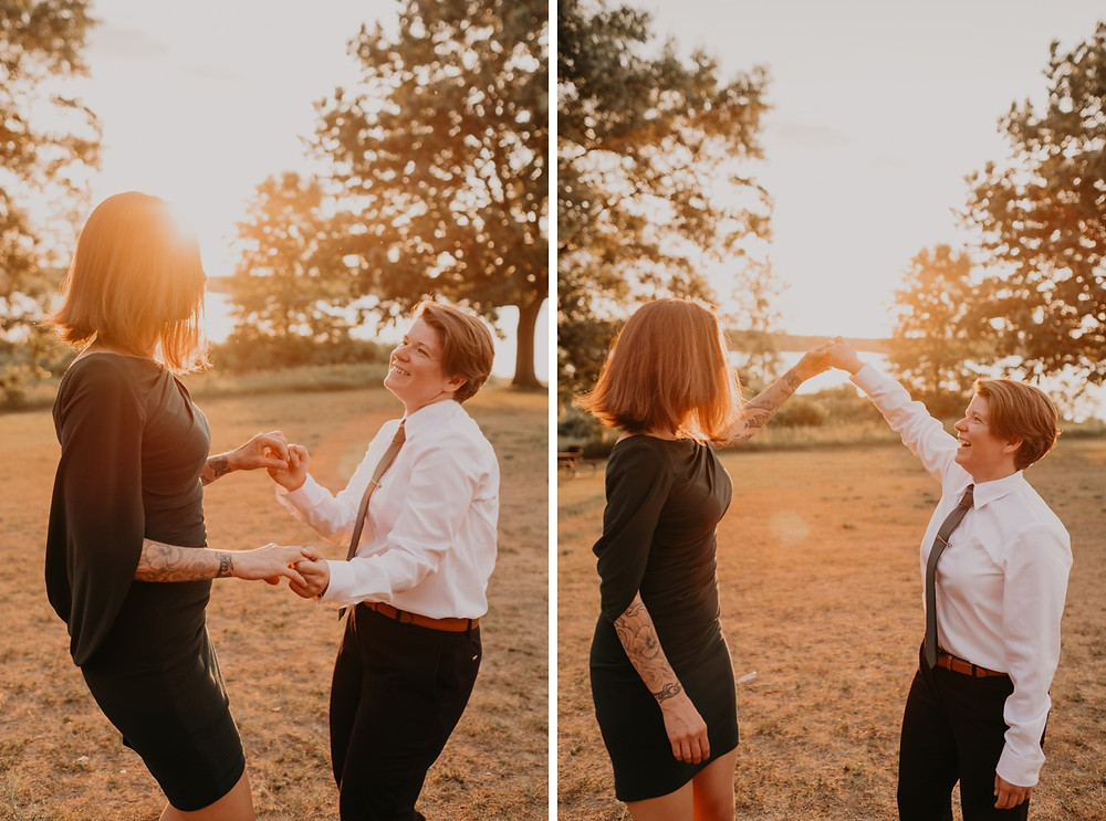Couple dancing at sunset in a field after commitment ceremony in Metro Detroit.Photographed by Nicole Leanne Photography