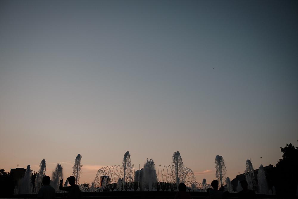 The Magic Fountain, Barcelona, sunset