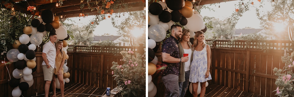 Wedding celebration in backyard in Metro Detroit. Photographed by Nicole Leanne Photography.