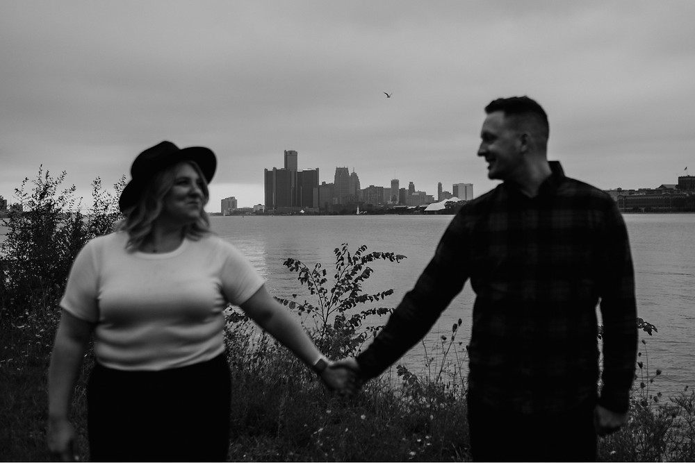 Detroit River engagement photos. Photographed by Nicole Leanne Photography.