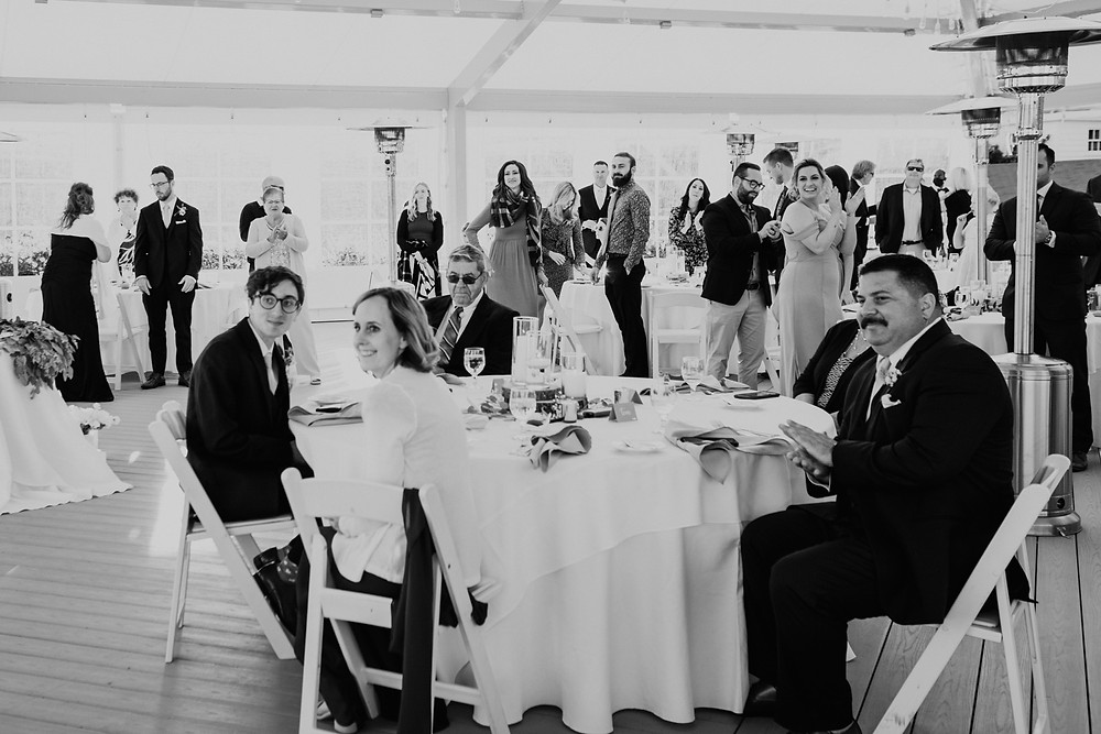 Wedding guests at Mackinac wedding. Photographed by Nicole Leanne Photography.