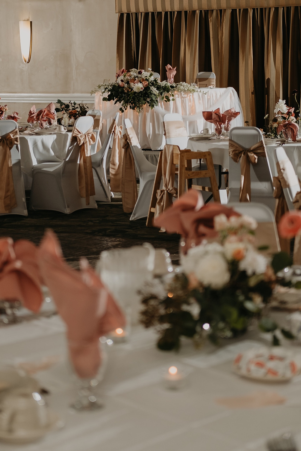 Banquet room wedding setup. Photographed by Nicole Leanne Photography.