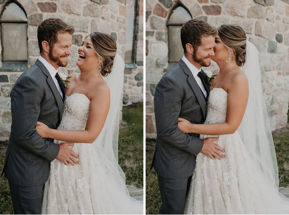 Bride and groom laughing on wedding day. Photographed by Nicole Leanne Photography.