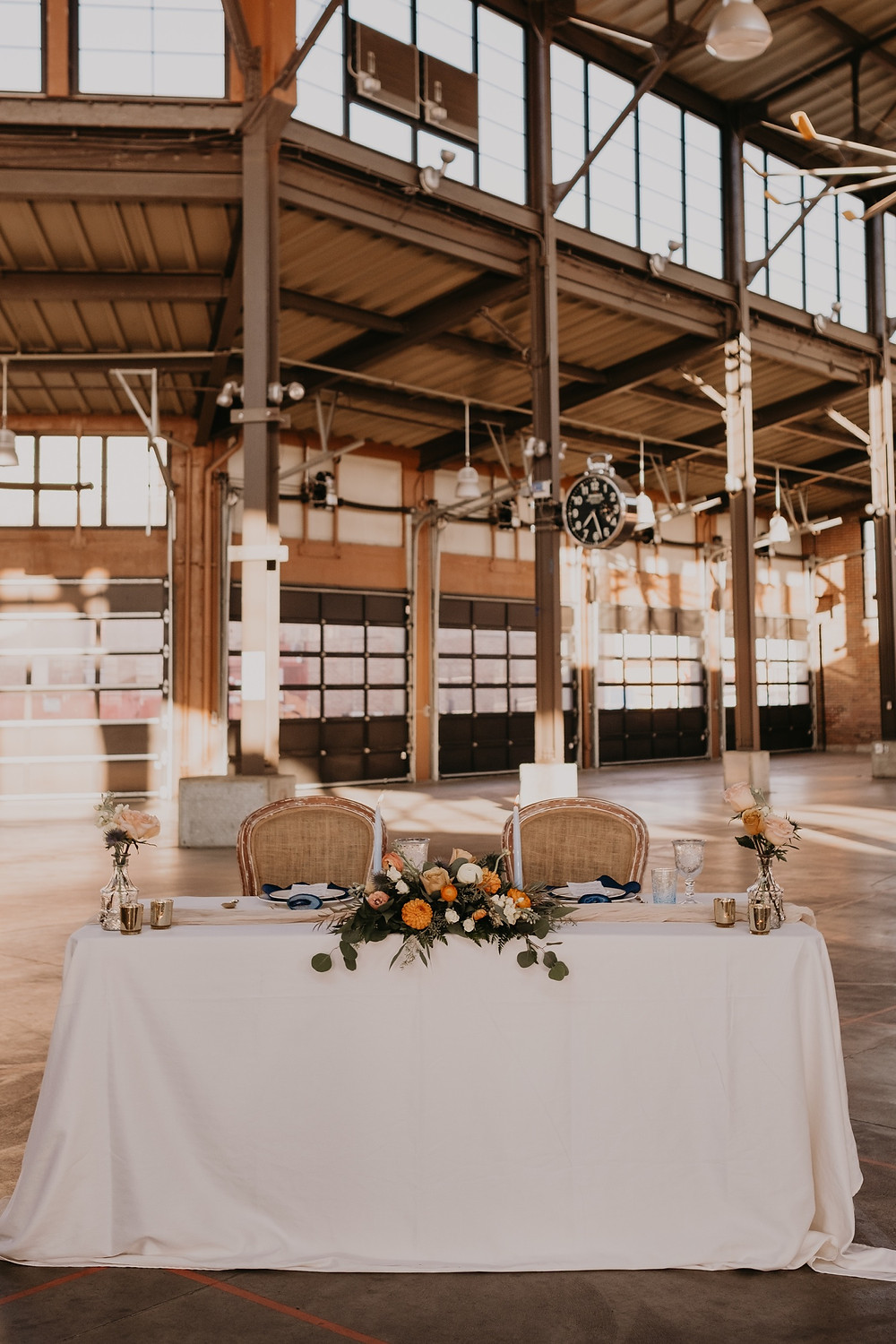 Head table in Eastern Market in Detroit, Michigan. Photographed by Nicole Leanne Photography.
