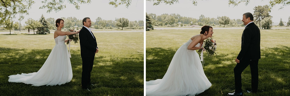 Father seeing daughter on wedding day. Photographed by Nicole Leanne Photography.