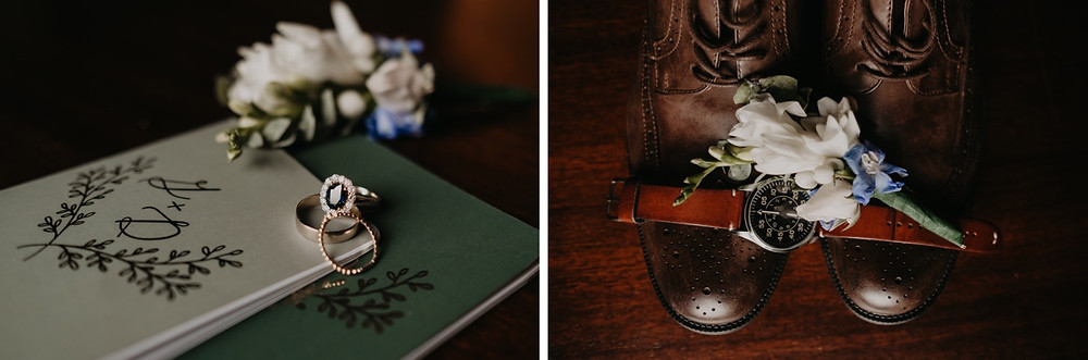 Wedding rings, vow books and florals on wedding day. Photographed by Nicole Leanne Photography.