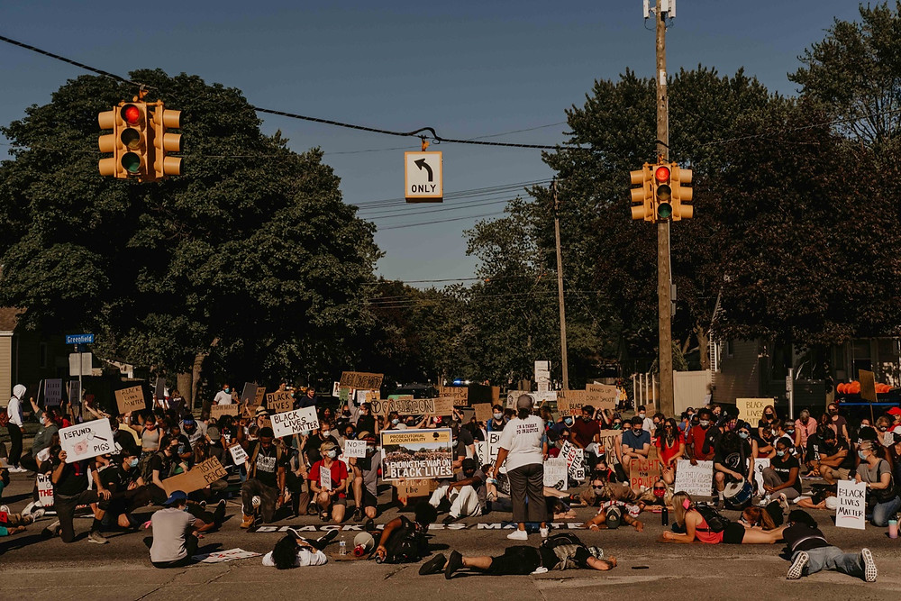Protest in traffic intersection for Black Lives Matter movement in Berkley Michigan
