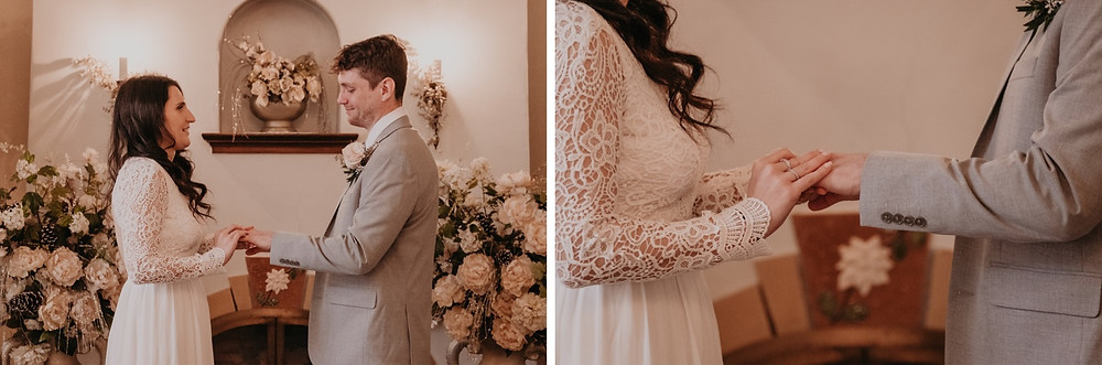 Bride and groom exchange rings during small intimate wedding ceremony. Photographed by Metro Detroit Wedding Photographer Nicole Leanne Photography