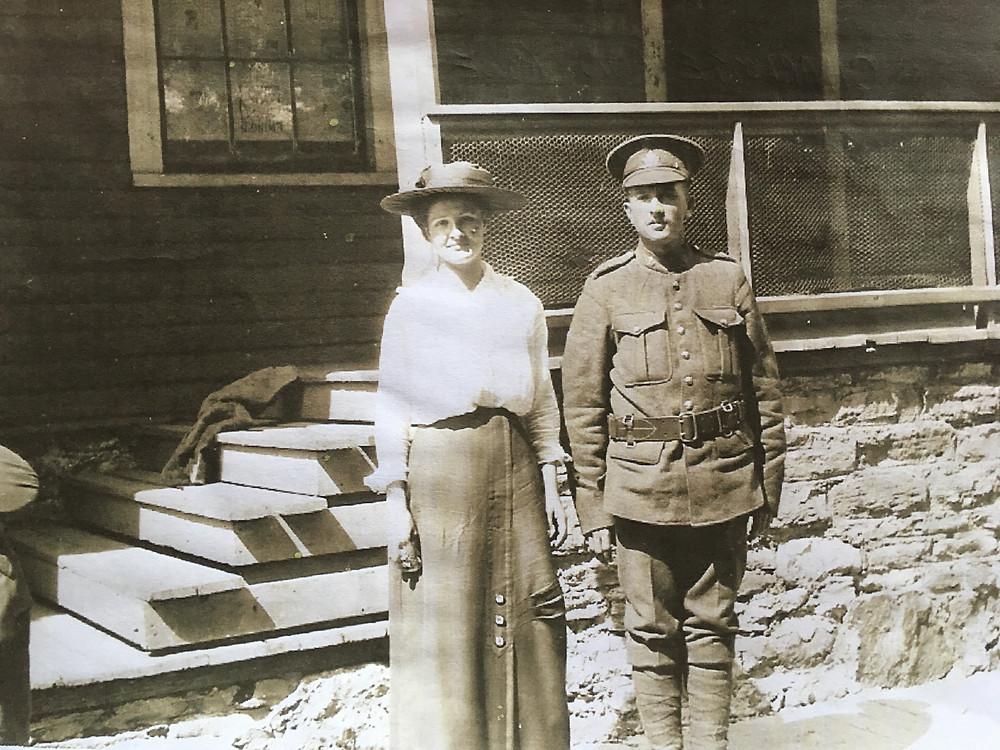 antique family photo, military