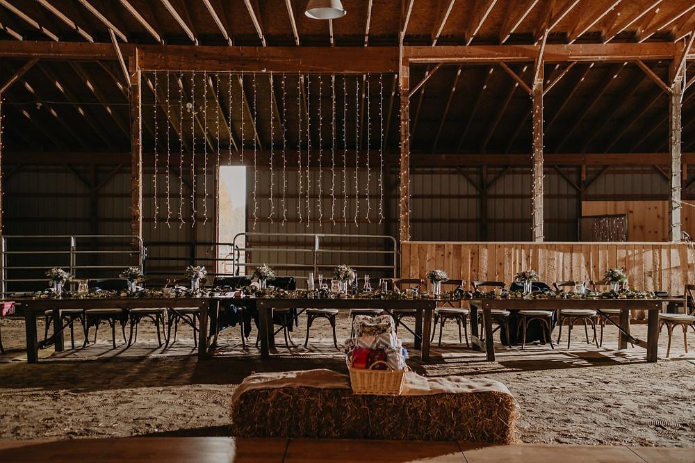 Michigan barn wedding with lights and rustic decor