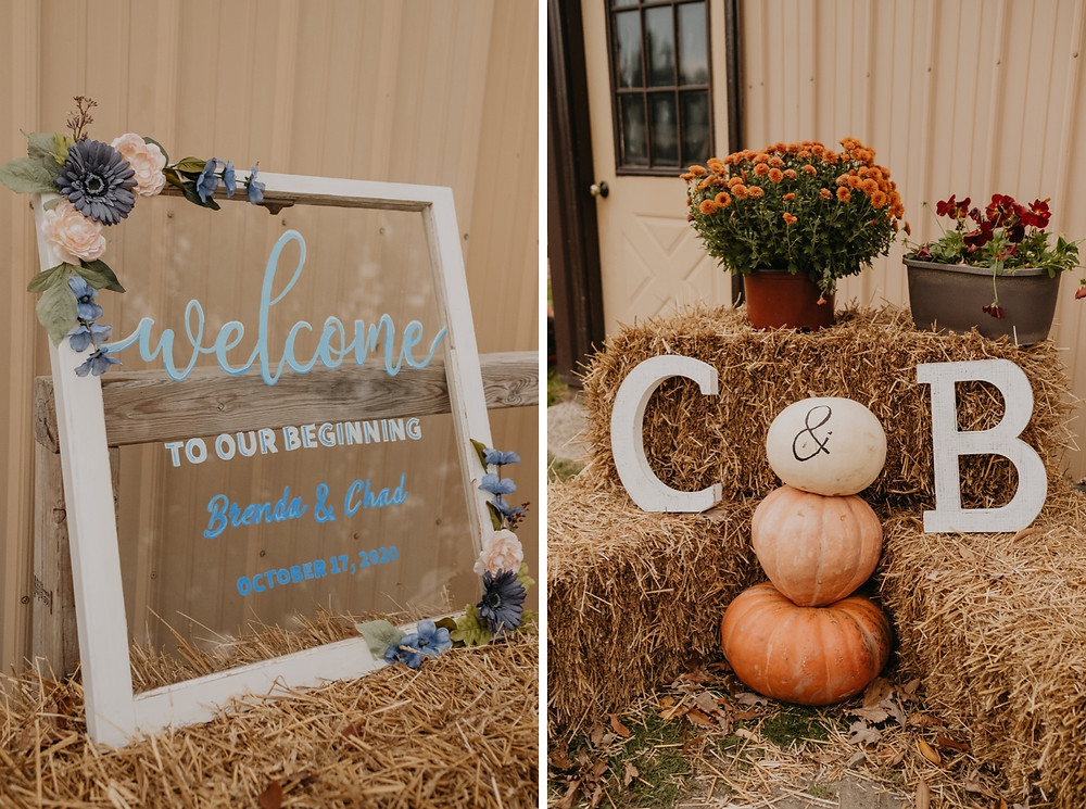 Fall wedding welcome sign with pumpkins