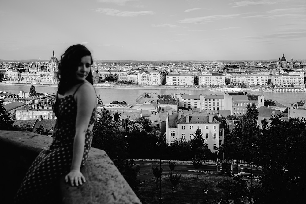 Black and white Budapest landscape photo. Photographed by Nicole Leanne Photography.