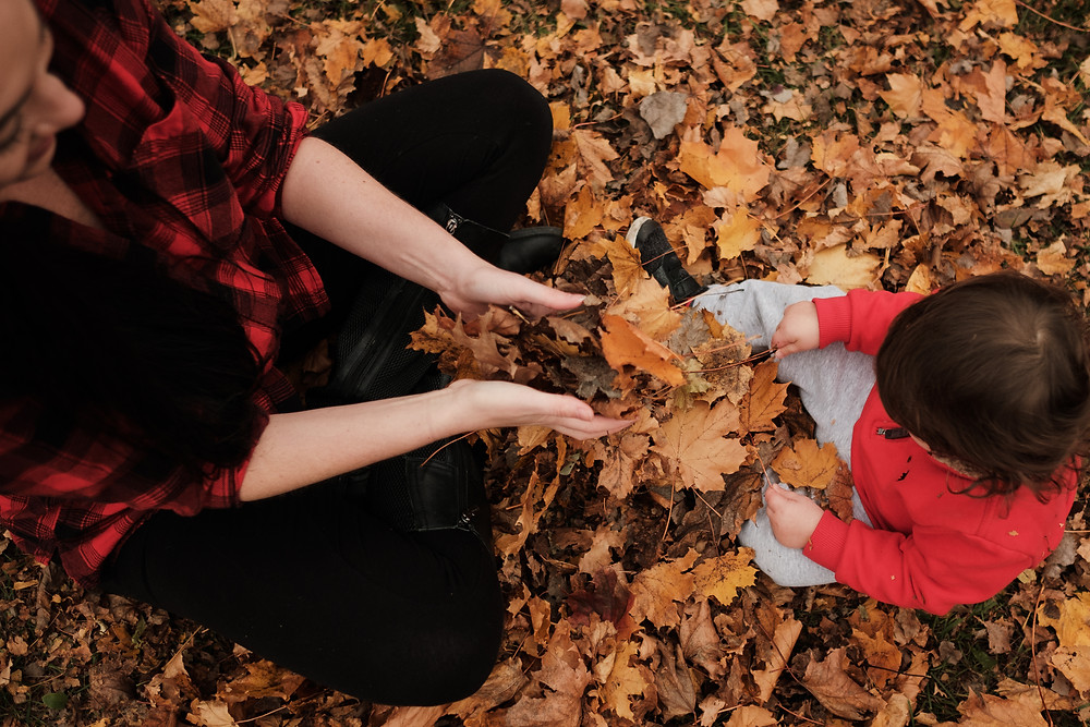 playing in the leaves, mother and son