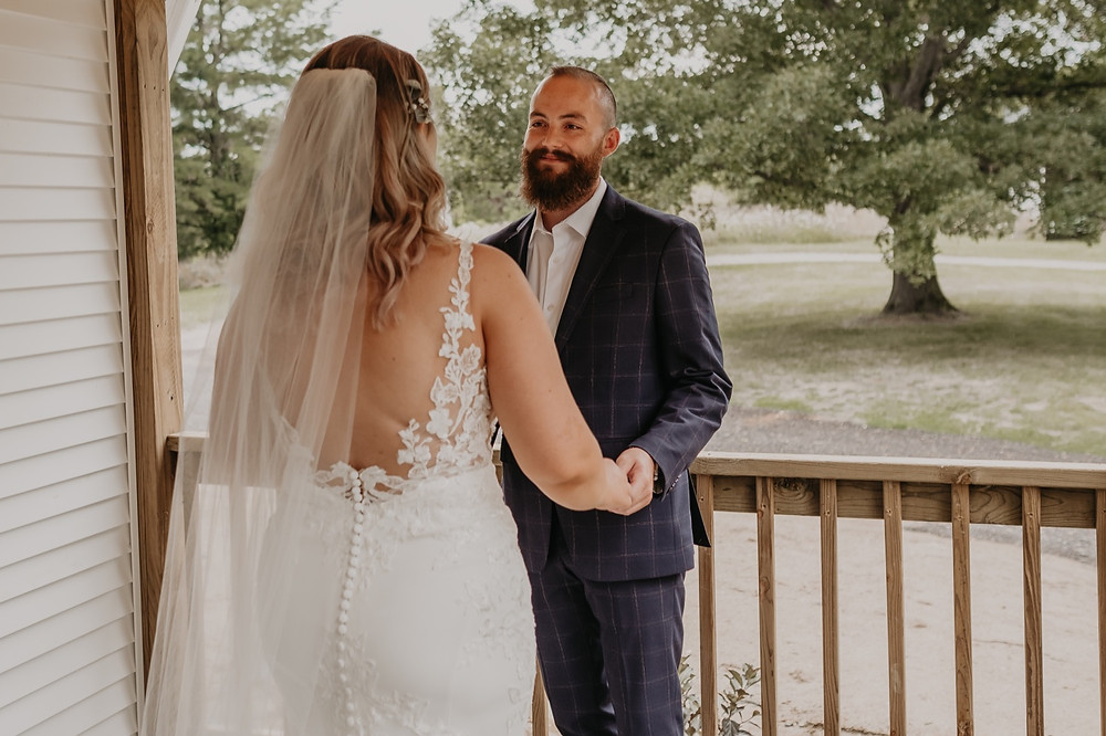Groom sees bride for first time on wedding day. Photographed by Nicole Leanne Photography.