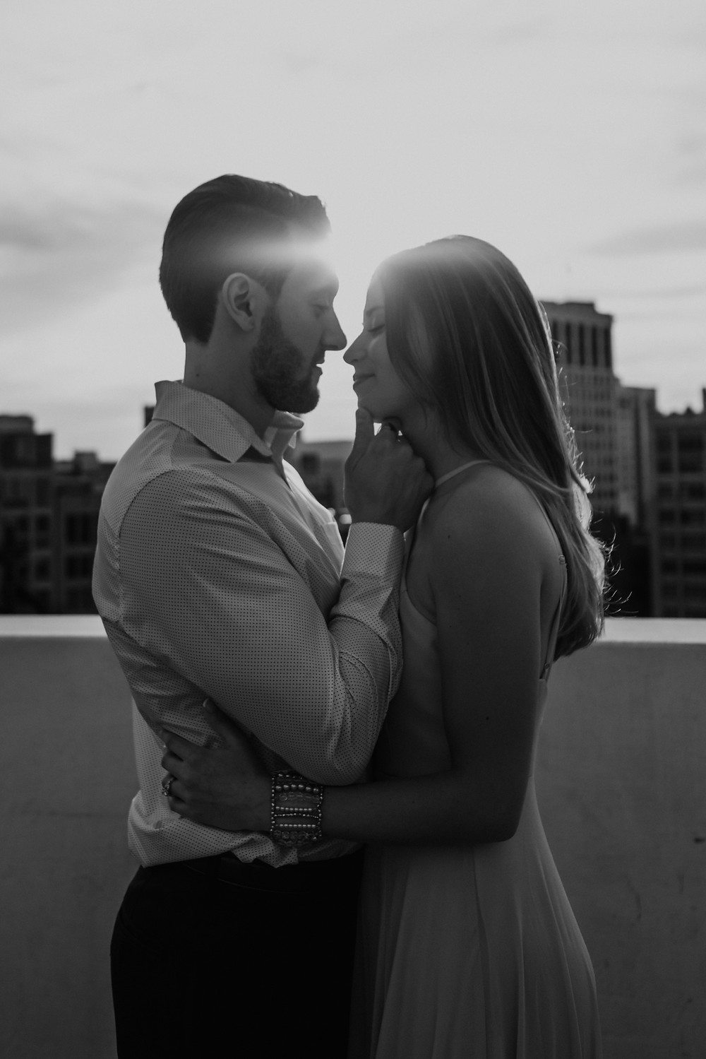 Black and white engagement photography. Photographed by Nicole Leanne Photography.