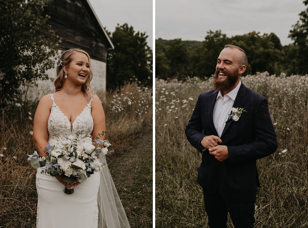 Bride and groom smiling on wedding day. Photographed by Nicole Leanne Photography.