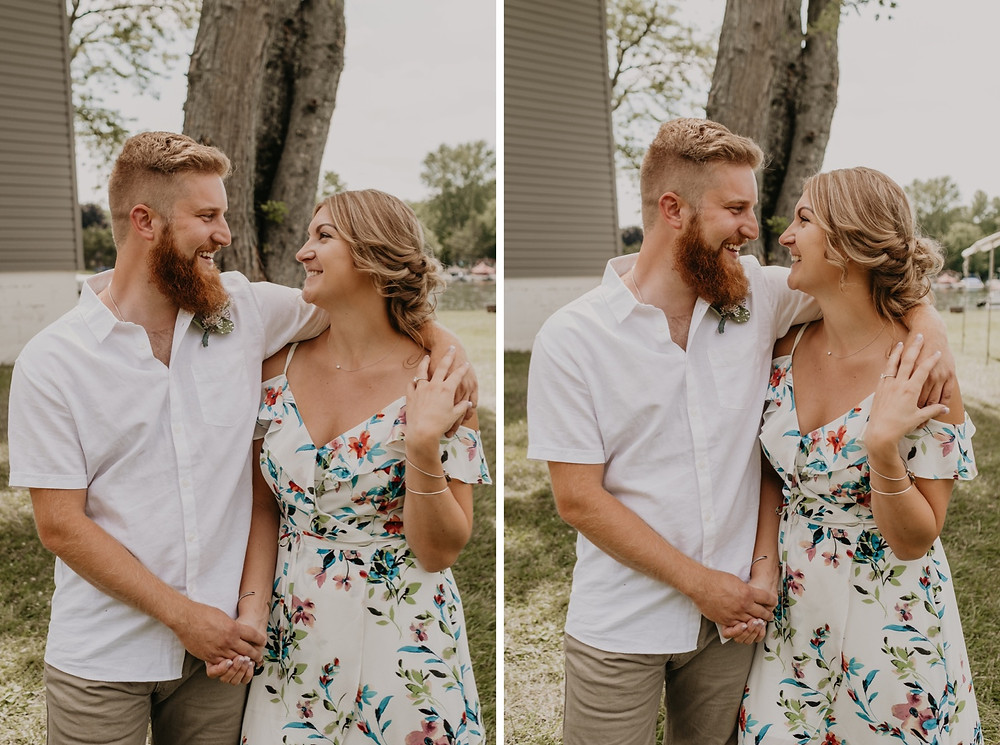 Metro Detroit backyard wedding photos with bride and groom. Photographed by Nicole Leanne Photography.